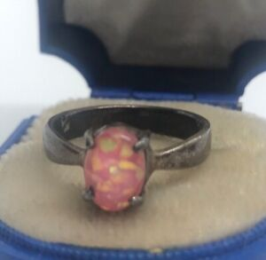Vintage-Sterling-Silver-Ring-925-Size-6-Faux-Opal