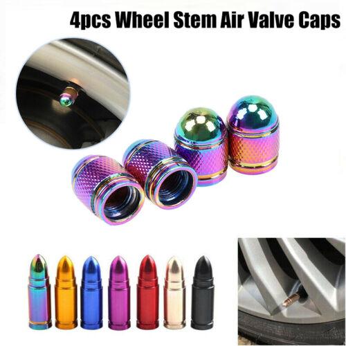 4pcs Aluminum Car Bike Tire Wheel Stem Air Valve Caps Dust Covers Bullet Shape