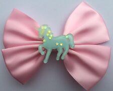 Pastel Pink Blue Glitter Unicorn Hair Bow Fairy Kei Kawaii Sweet Lolita Harajuku