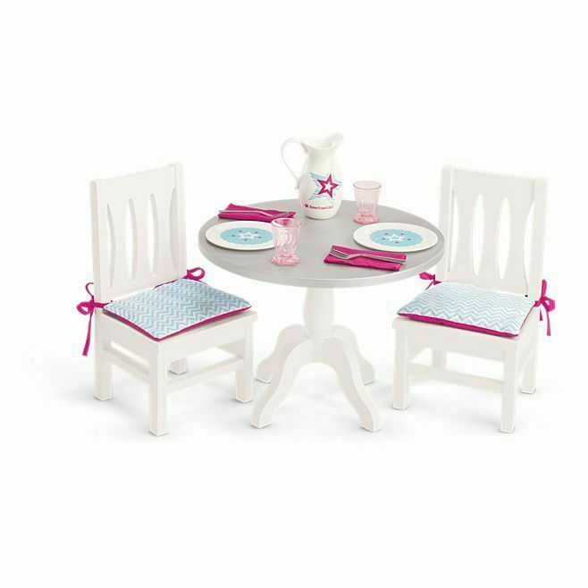 American Girl Doll Dining Table And Chairs with Dishes Pitcher Dinnerware NEW