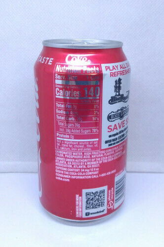 2019 Edition; 355 ml 12 fl oz; BOTTOM opened USA Empty Coca Cola can