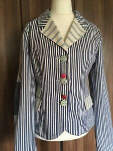 Joe Cotton Stripe Blue Patch Chintz Jacket Browns Elbow 14 White Blazer Sz Trim SrIS6gwq