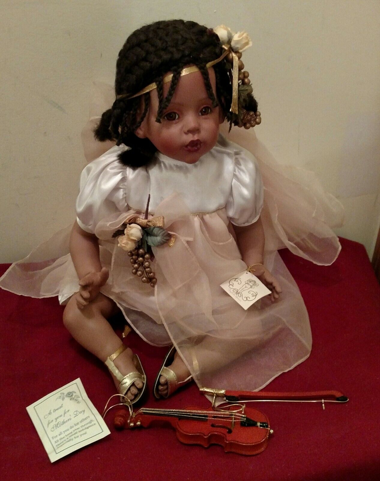 Fayzah Spanos African American Porcelain Doll & Violin Kisses Distressed Box  ✞