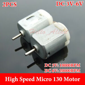 2PCS DC 1.5V-6V 3V 12000RPM Double Shaft Micro 130 DC Motor DIY RC Car Toy Boat