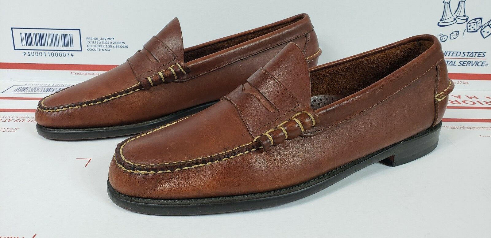 LL Bean Slip On Penny Loafers Boat shoes 10 D Brown Leather Mens
