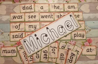 laminated starting school 45 RECEPTION words set with WRITE YOUR NAME CARD