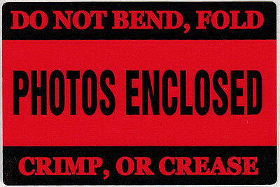 """Red """"Photos Enclosed"""" Label - 2"""" by 3"""" - 50 ct - SL005C"""