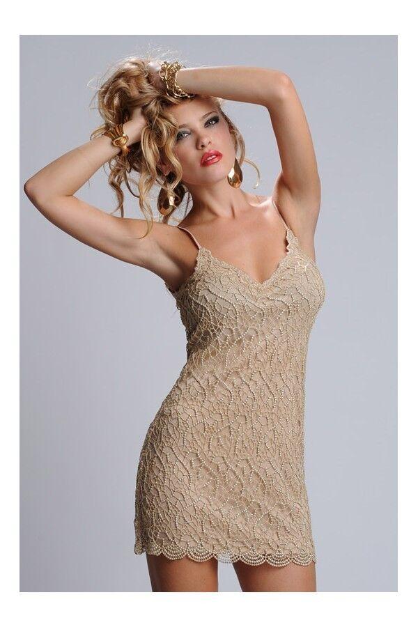 NEW Kimikal Flavia gold mini tank short dress with crochet overlay KIMIKAL sz M