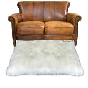 Faux Fur Shag Rug, Sheepskin Throw Rug, Plush, White Carpet, 5x7 Rectangle
