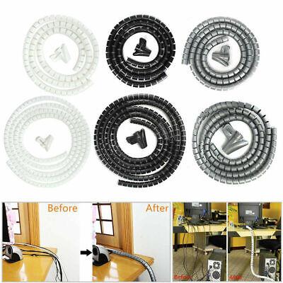 Schwarz 2M10mm Kabelschlauch Kabelspirale Schutz Schlauch Spiralband Kabelbündel