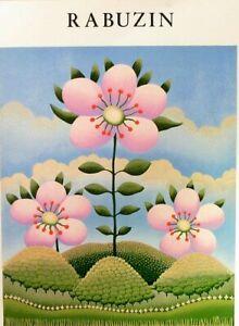 Artista-ingenuo-Ivan-Rabuzin-Cartel-exposicion-de-la-Galeria-Nueva-York-Coliseo-1981-Como-Nuevo