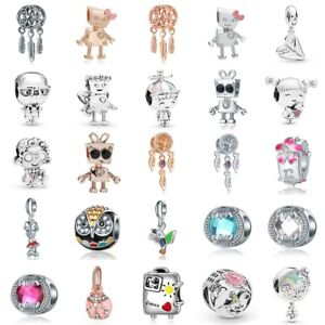 European-Silver-Charms-Robot-Beads-Enamel-CZ-Pendants-Fit-925-Sterling-Bracelets