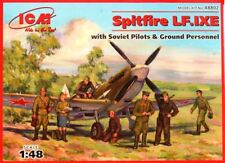 SPITFIRE LF Mk IX E WITH PILOTS & GROUND PERSONNEL (SOVIET AF MKGS) 1/48 ICM