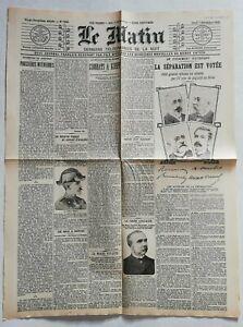 N909-La-Une-Du-Journal-Le-Matin-7-decembre-1905-la-separation-est-votee