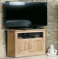 Mobel solid oak living room furniture corner TV cabinet stand unit with doors