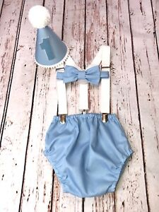 Baby Boy 1st Birthday Cake Smash Prop Outfit Blue Color