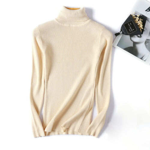 Women Knitted Sweater Turtleneck Pullover Jumper Slim Warm Casual Long Sleeve