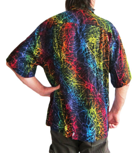 LOUD HAWAIIAN HAND-PAINTED SHIRT BLACK with multicolored print STAG NIGHT party
