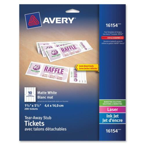 """1-3//4/"""" X 5-1//2/"""" Avery Tickets With Tear-away Stubs 16154 Pack Of Matte White"""