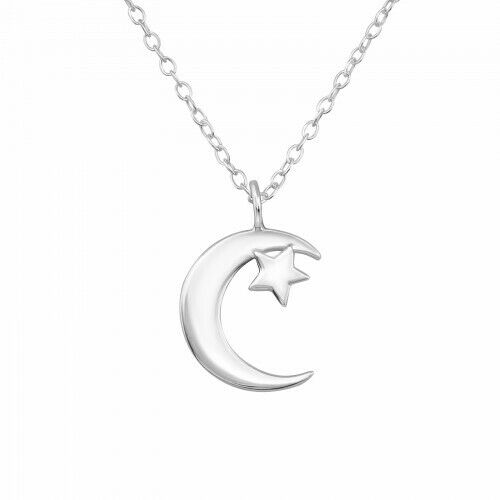 """925 Sterling Silver Moon /& Star Pendant Necklace 18/"""" Chain"""