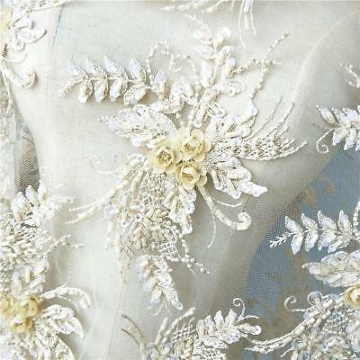 3D Flower Embroidery Beads Lace Applique Patch Delicate DIY Wedding Dress 1 PC