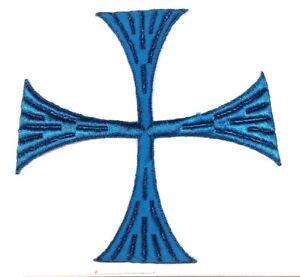 Vintage-Cuadrado-Cruz-6-034-Bordado-para-Coser-Azul-S-Maltes-Emblema-Parche-2PC