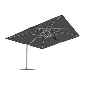 Ampelschirm Sonnenschirm Gartenschirm Kurbelschirm Marktschirm 4x3 m grau B-Ware