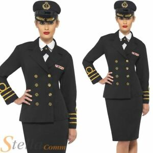 WW2 Navy Officer Costume 1940s Sailor Uniform Womens Ladies Fancy Dress Outfit