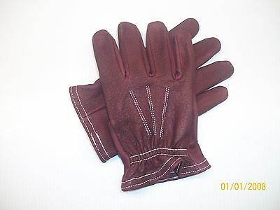 OX BLOOD RED LEATHER SHORT CUFF UNLINED MOTORCYCLE RIDING GLOVES