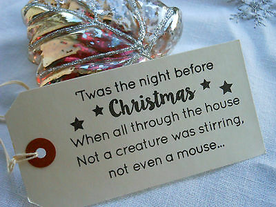 10 White Night Before Christmas Gift Tags Handmade Vintage Style
