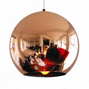 New-modern-Copper-Mirror-Glass-Ball-Pendant-Light-Hanging-Lamp-Chandelier-40cm