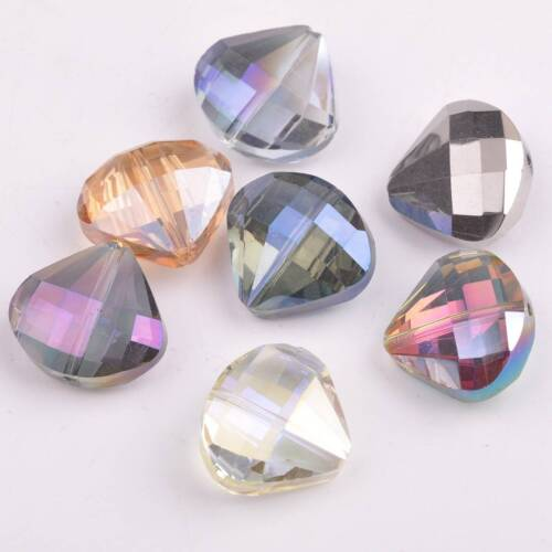 5pcs 20x18mm Sector Diamond Faceted Crystal Glass Loose Craft Beads DIY Jewelry