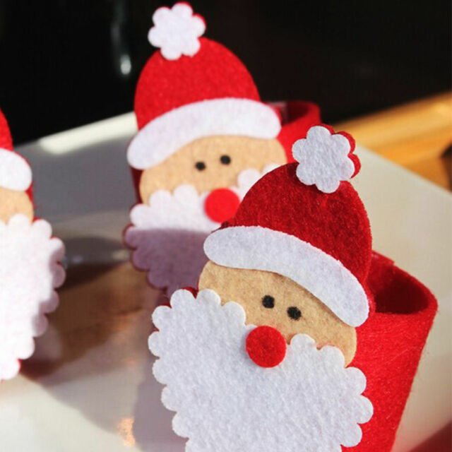 12pcs Christmas Santa Napkin Rings Serviette Holder Dinner Table