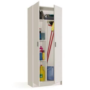 Mueble-Alto-Auxiliar-2-puertas-Mueble-Multiusos-Mueble-escobero-Blanco