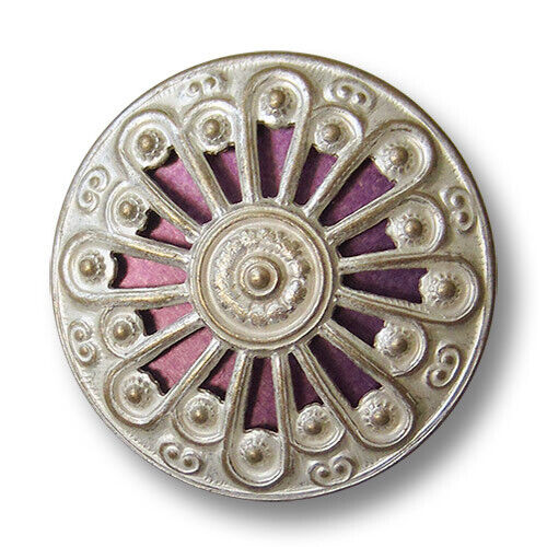 1696li 4 pâle dorée ösenknöpfe en métal en tôle avec Violet Inlay