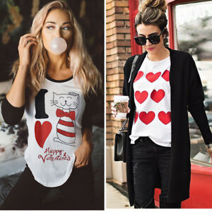 Women-Valentine-039-s-Day-Cat-Love-Long-Sleeve-Sweatshirt-Pullover-Tops-Blouse-Shirt