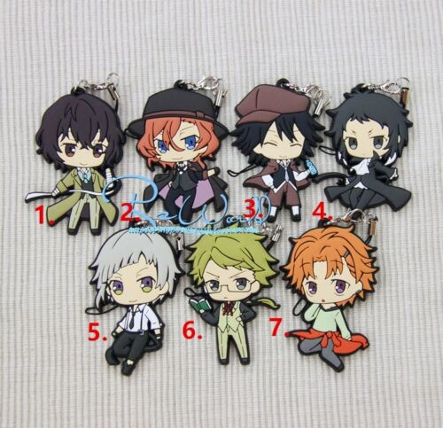 Anime Bungo Stray Dogs Keychain Keyring Rubber Strap Phone Charm Bag Pendant 3D