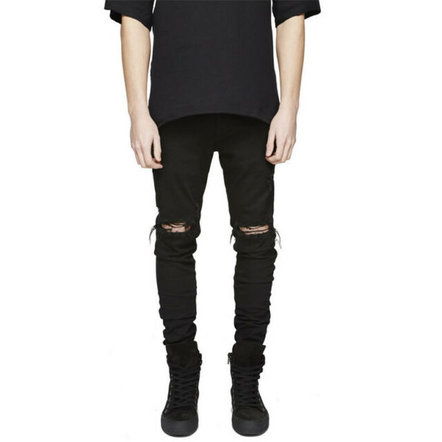 Men's Slim Skinny Runway Straight Elastic Denim Pants Destroyed Ripped Jeans Hot