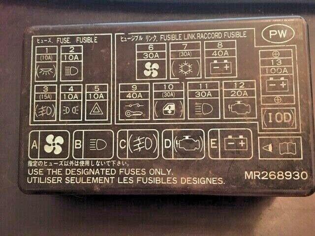 2000 Mitsubishi Montero Sport Fuse Box Cover B 20 For Sale Online