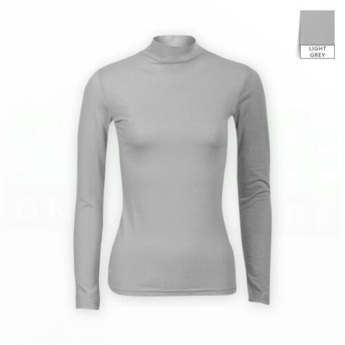Womens ladies long sleeve polo neck top turtle neck t shirt jumper 6-26*Polo