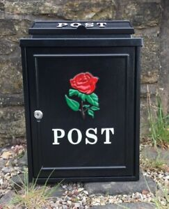 Acier Noir post box, Boîte aux lettres Rose Rouge Logo pour jardin, allée, Porte d'entrée
