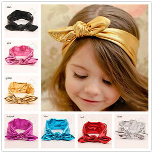 Metallic-Baby-Knotted-Knot-Bow-Bunny-Ear-Headband-Infant-Newborn-Girl-Toddler