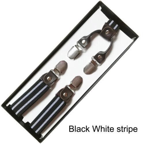 4 Clip Men/'s Suspenders 39 inch stripes Braces Women Elastic Adjustable Straps