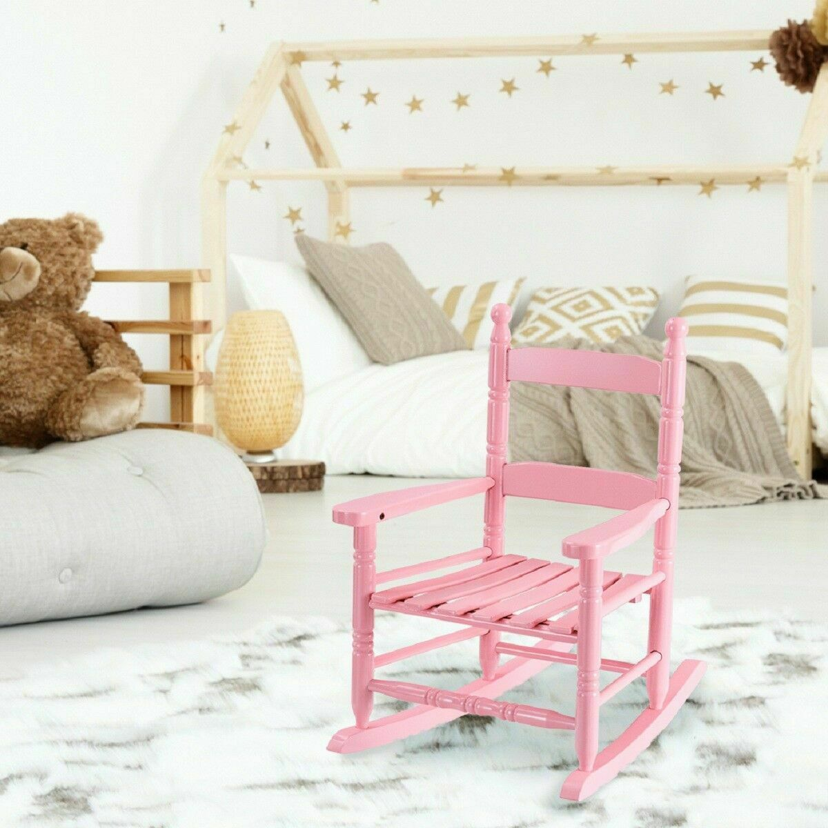 Incredible Classic Pink Wooden Children Kids Rocking Chair Slat Back Furniture Bedroom Camellatalisay Diy Chair Ideas Camellatalisaycom