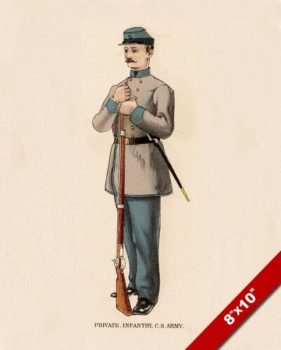 US CIVIL WAR CONFEDERATE ARMY PRIVATE UNIFORM PAINTING ART REAL CANVAS PRINT