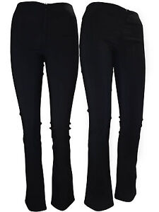 New Black Girls Ladies Skinny School Stretch Trousers Invisible Zip Women Office
