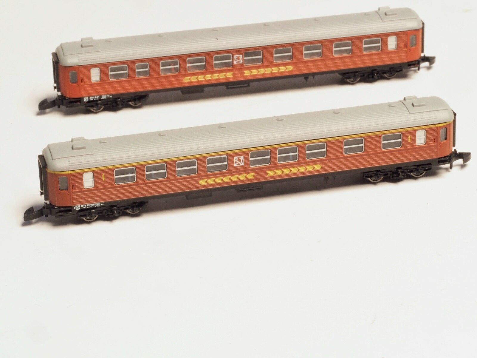 FR Z-scale SJ litt A2 & B5 Intercity passenger cars 1st & 2nd class Swedish RR