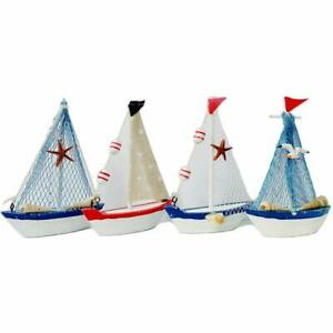 Details About Decorative Wooden Sailboat Model 4 Pack Handmade Vintage Nautical Decor Sailing
