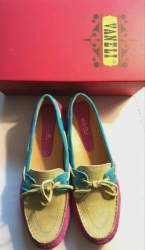 VANELi Women/'s Suede Leather Fuchsia//Lime//Light Blue//Slip-on Loafer SZ:8.5M $105