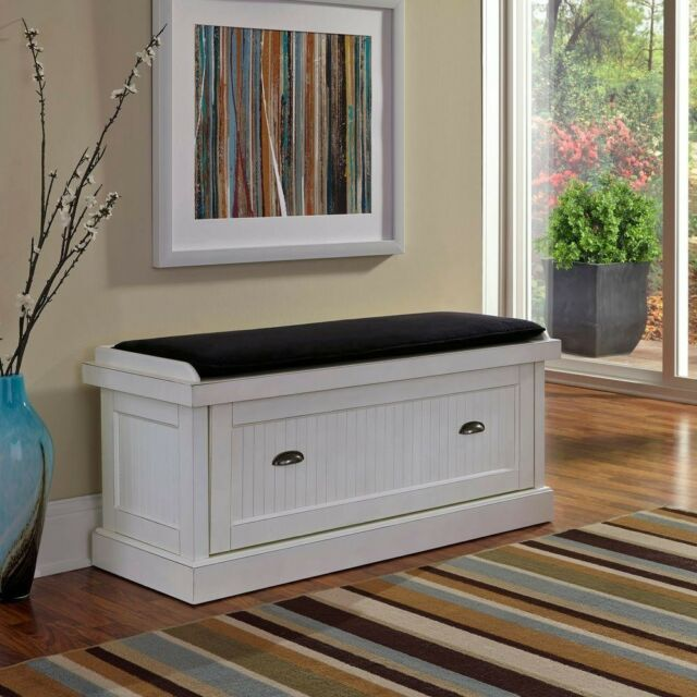 Fabulous Bench Wood Frame Faux Suede Upholstered In Distressed White With 2 Storage Bins Machost Co Dining Chair Design Ideas Machostcouk